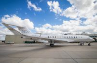 The Global 7500 business jet makes its debut at RUBAE in Russia