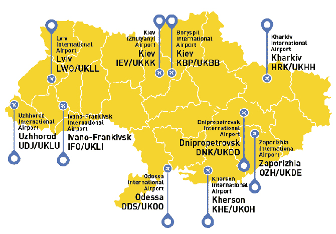 Map of Ukraine with major international airports