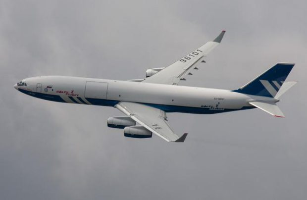 The stretched, upgraded and more powerful version of the original four-engine long-haul Il-96 airliner currently exists as a cargo version only