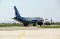 The aircraft's nose was severely damaged when it hit an airbridge at Mexico International Airport last October