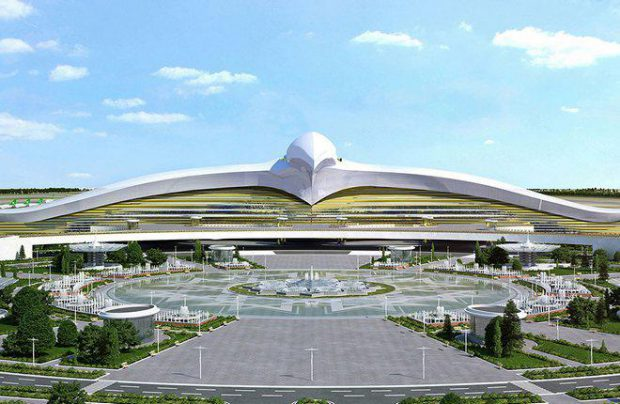 The building of Ashgabad airort's new passenger terminal resembles a giant bird spreading its wings