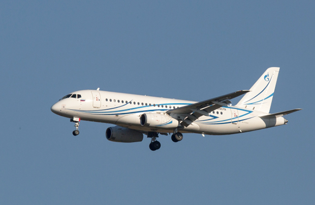 The Sukhoi Superjet-100LR of Gazpromavia in the air