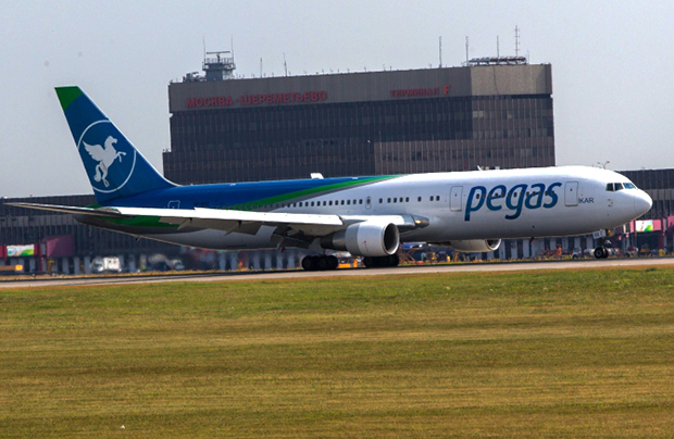 The Boeing-767 of Pegas (Ikar) charter airline at Sheremetyevo airport, Moscow