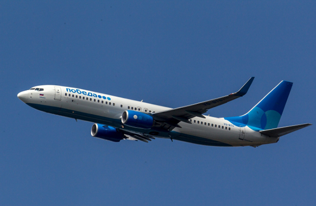 The Boeing 737-800 of the lowcost Pobeda Airlines in the air (Photo by Leonid Faerberg / Transport-Photo Images)