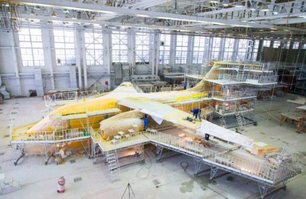 The An-148's painting is being carried out at VASO
