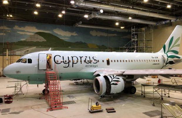 New Cyprus Airways A319 in painting hangar