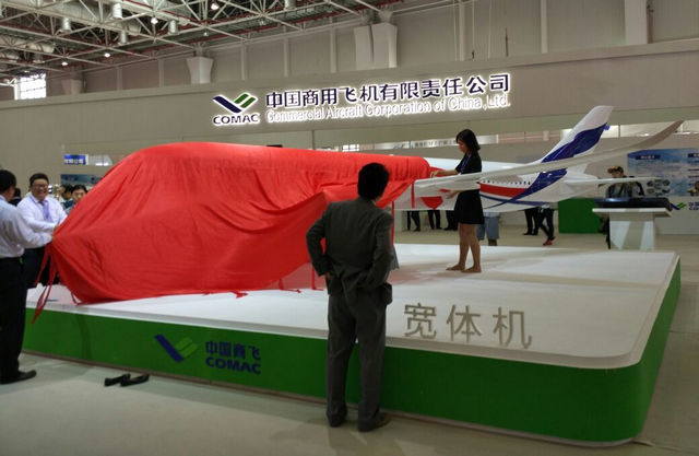 Presentation of the Russo-Chinese wide-body aircraft mockup (Photo by Russian Aviation Insider)