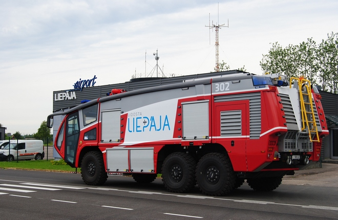 As a part of the refurbishment effort Liepaja airport purchased new fire fighting vehicles (Photo by SIA Aviasabiedriba)