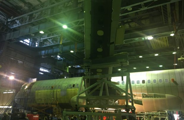 The second MC-21 prototype with the composite wing already attached to the fuselage at Russia's TsAGI Central Aerohydrodynamic Institute