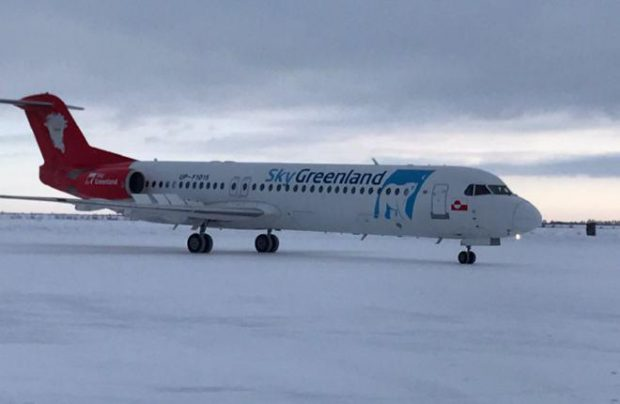 Bek Air's new Fokker 100 arrived in its previous operator's livery and was ferried to Ulyanovsk for painting