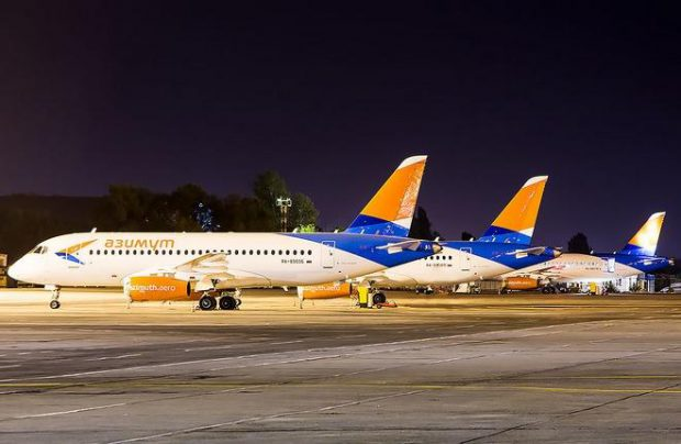 Azimuth Airlines operates a fleet of Sukhoi Superjet 100 regional jetliners