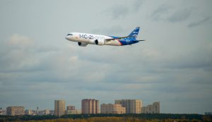 The MC-21 flew at an altitude of 10,000 m
