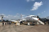 The wingleted SSJ100 is said to burn less fuel