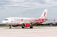 Rossiya's aircraft features a sporty livery